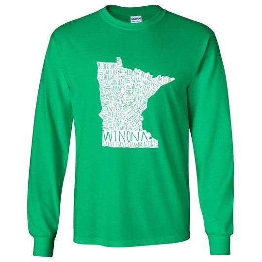 Winona Long-Sleeve Shirt White Typography Map, Greens