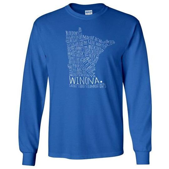 Winona Long-Sleeve T-Shirt, Typography Map White Text - Kari Yearous Photography KetoLaughs
