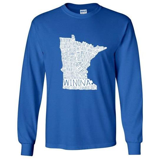 Winona Minn Long-Sleeve T-Shirt, White Typography Map - Kari Yearous Photography WinonaGifts KetoGifts LoveDecorah