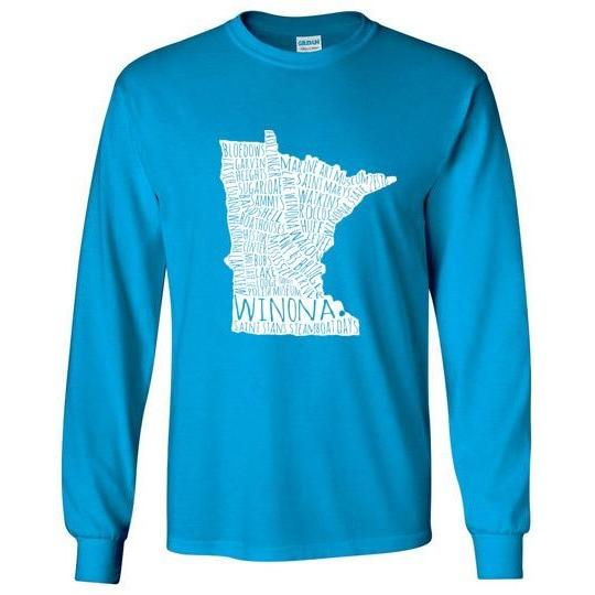 Winona Minn Long-Sleeve T-Shirt, White Typography Map - Kari Yearous Photography KetoLaughs