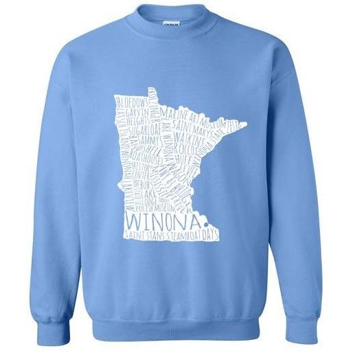 Winona Minn Crewneck Sweatshirt, White Map, Blues and Greens - Kari Yearous Photography WinonaGifts KetoGifts LoveDecorah