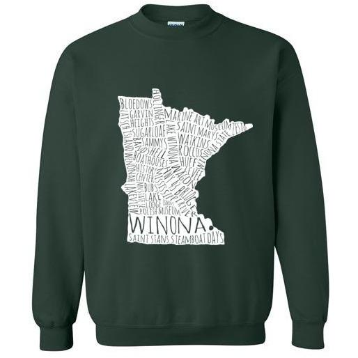 Winona Minn Crewneck Sweatshirt, White Map, Blues and Greens - Kari Yearous Photography KetoLaughs