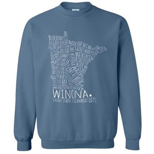 Winona Crewneck Sweatshirt Winona Typography Map White Text - Kari Yearous Photography WinonaGifts KetoGifts LoveDecorah
