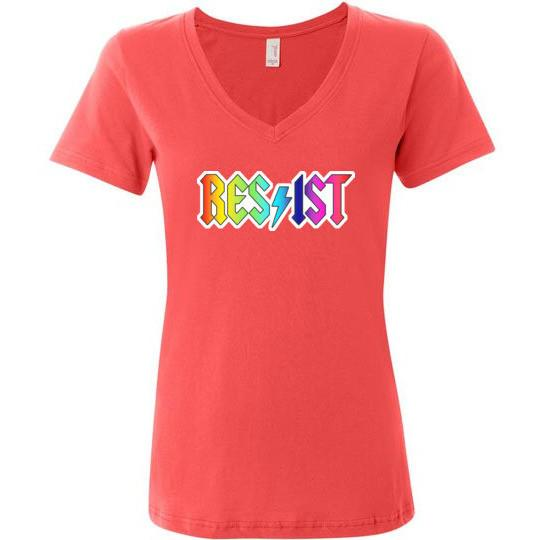 Resist T-Shirt, Ladies Featherweight V-Neck - Kari Yearous Photography WinonaGifts KetoGifts LoveDecorah