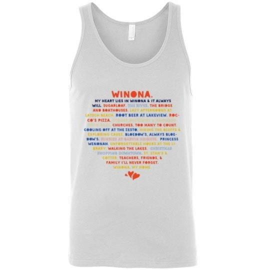 Unisex Tank Heart Lies In Winona WACS + Rocco's Version - Kari Yearous Photography WinonaGifts KetoGifts LoveDecorah