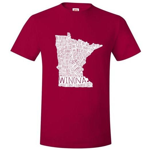 Winona T-Shirt White Typography Map, Hanes Nano T-Shirt