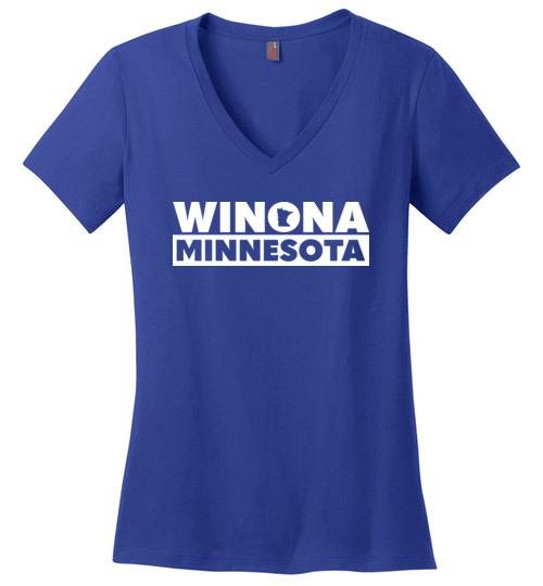Ladies Winona Minnesota T-Shirt, Perfect Weight V-Neck - Kari Yearous Photography WinonaGifts KetoGifts LoveDecorah