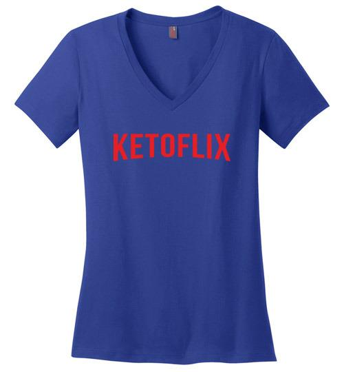 Ladies Keto Shirt Ketoflix Netflix Style, Perfect Weight V-Neck - Kari Yearous Photography WinonaGifts KetoGifts LoveDecorah
