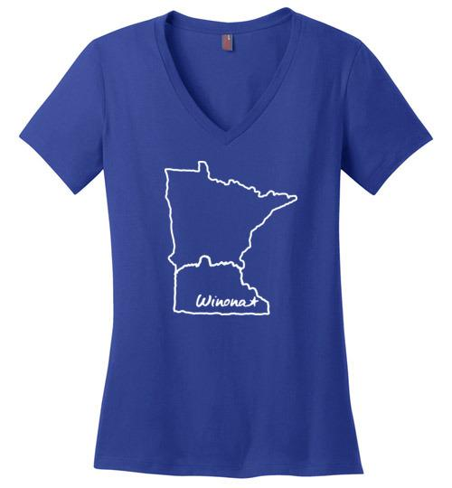 Winona MN Ladies T-Shirt, Sugarloaf in State Outline, Perfect Weight V-Neck