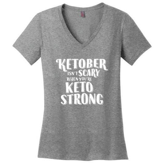 Ketober Isn't Scary Funny Keto T-shirt, Ladies Perfect Weight V-Neck - Kari Yearous Photography WinonaGifts KetoGifts LoveDecorah