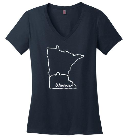Winona MN Ladies T-Shirt, Sugarloaf in State Outline, Perfect Weight V-Neck - Kari Yearous Photography WinonaGifts KetoGifts LoveDecorah