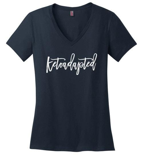 Keto TShirt Ketoadapted, Ladies Perfect Weight V-Neck Ketosis T Shirt - Kari Yearous Photography WinonaGifts KetoGifts LoveDecorah