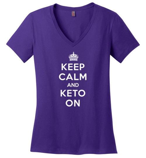 Keto TShirt Keep Calm and Keto On, Ladies Perfect Weight V-Neck - Kari Yearous Photography WinonaGifts KetoGifts LoveDecorah