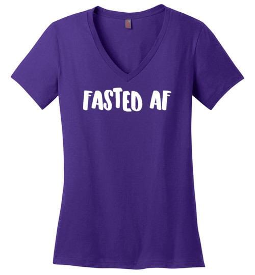 Fasted AF Shirt Fasting T-Shirt, Ladies V-Neck - Kari Yearous Photography WinonaGifts KetoGifts LoveDecorah