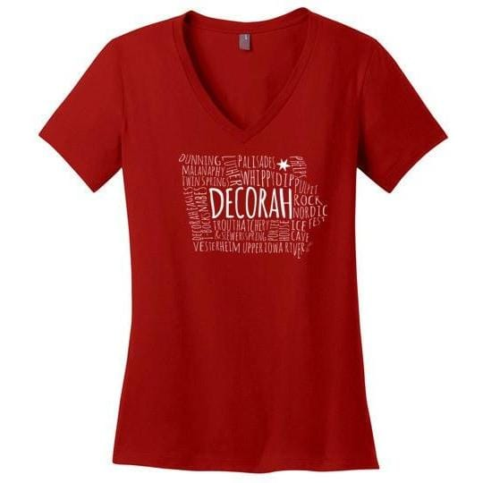 Decorah Typography Map Ladies Perfect Weight V-Neck Shirt - Kari Yearous Photography WinonaGifts KetoGifts LoveDecorah