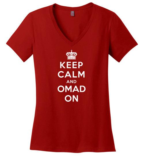 OMAD Fasting T-Shirt Keep Calm and OMAD On, Ladies V-Neck - Kari Yearous Photography WinonaGifts KetoGifts LoveDecorah