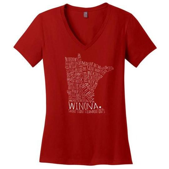 Winona MN Typography Map Ladies Perfect Weight V-Neck Shirt