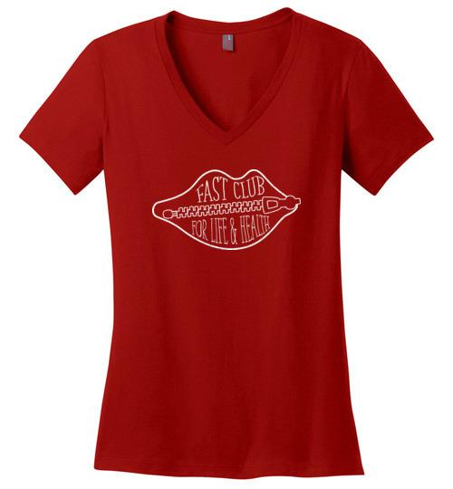 Fast Club Shirt, Fasting T-Shirt, Ladies Perfect Weight V-Neck - Kari Yearous Photography WinonaGifts KetoGifts LoveDecorah
