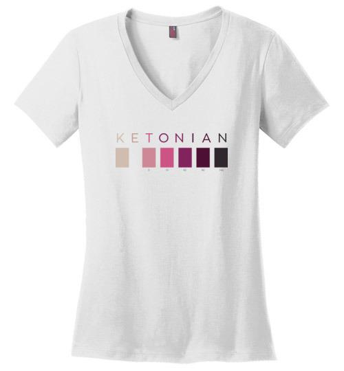 Ketonian Ketone T-Shirt, Ladies Perfect Weight V-Neck, Ketone Strip Colors - Kari Yearous Photography WinonaGifts KetoGifts LoveDecorah