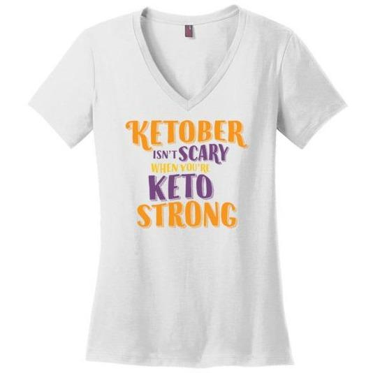 Ketober Isn't Scary Funny Keto Shirt, Ladies Perfect Weight V-Neck
