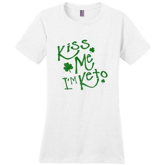 Women's Keto T-Shirt Kiss Me I'm Keto, Green on White