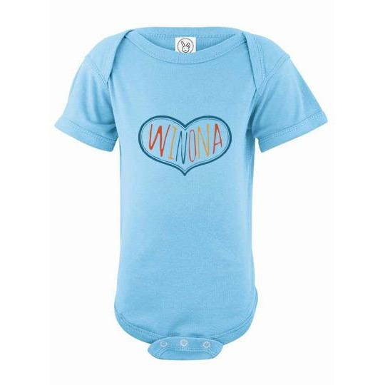 Winona Minnesota Baby Onesie Winona Multicolor Heart - Kari Yearous Photography WinonaGifts KetoGifts LoveDecorah