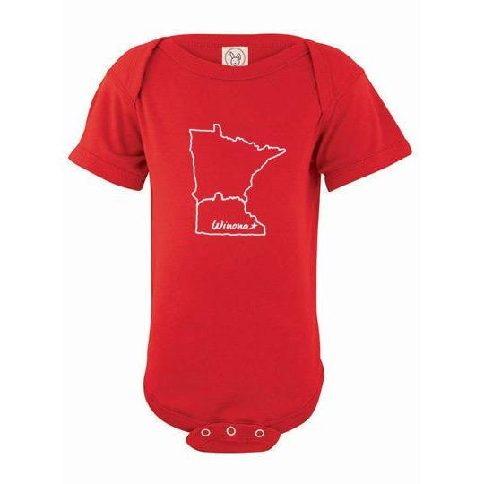 Winona Minnesota Baby Onesie Winona Star in State Shape - Kari Yearous Photography WinonaGifts KetoGifts LoveDecorah
