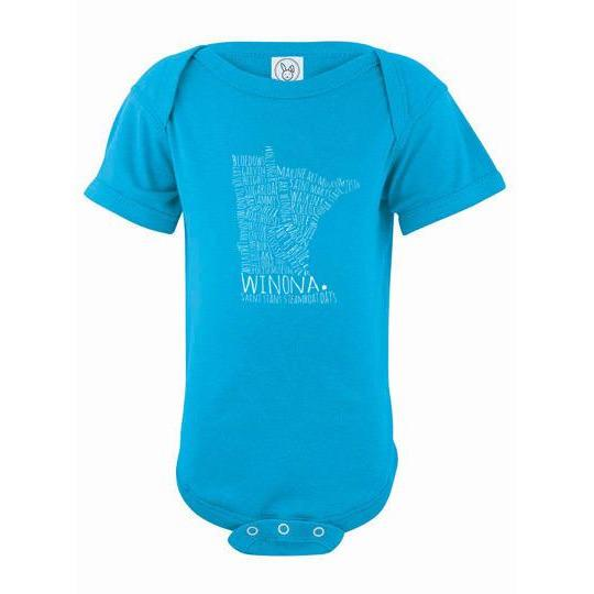 Winona Minnesota Baby Bodysuit Winona Typography Map - Kari Yearous Photography KetoLaughs