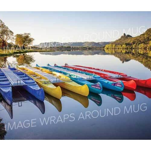 Winona Minnesota Travel Mug Canoes with Sugarloaf - Kari Yearous Photography WinonaGifts KetoGifts LoveDecorah