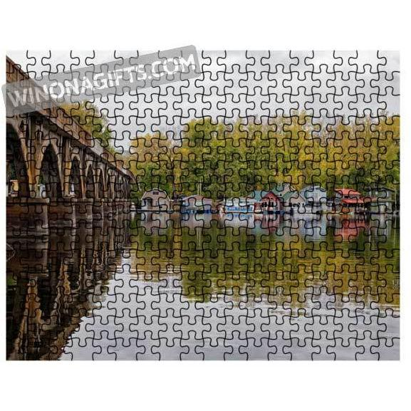 Winona Minnesota Picture Puzzle Boathouses Wagon Bridge Latsch Island - Kari Yearous Photography KetoLaughs