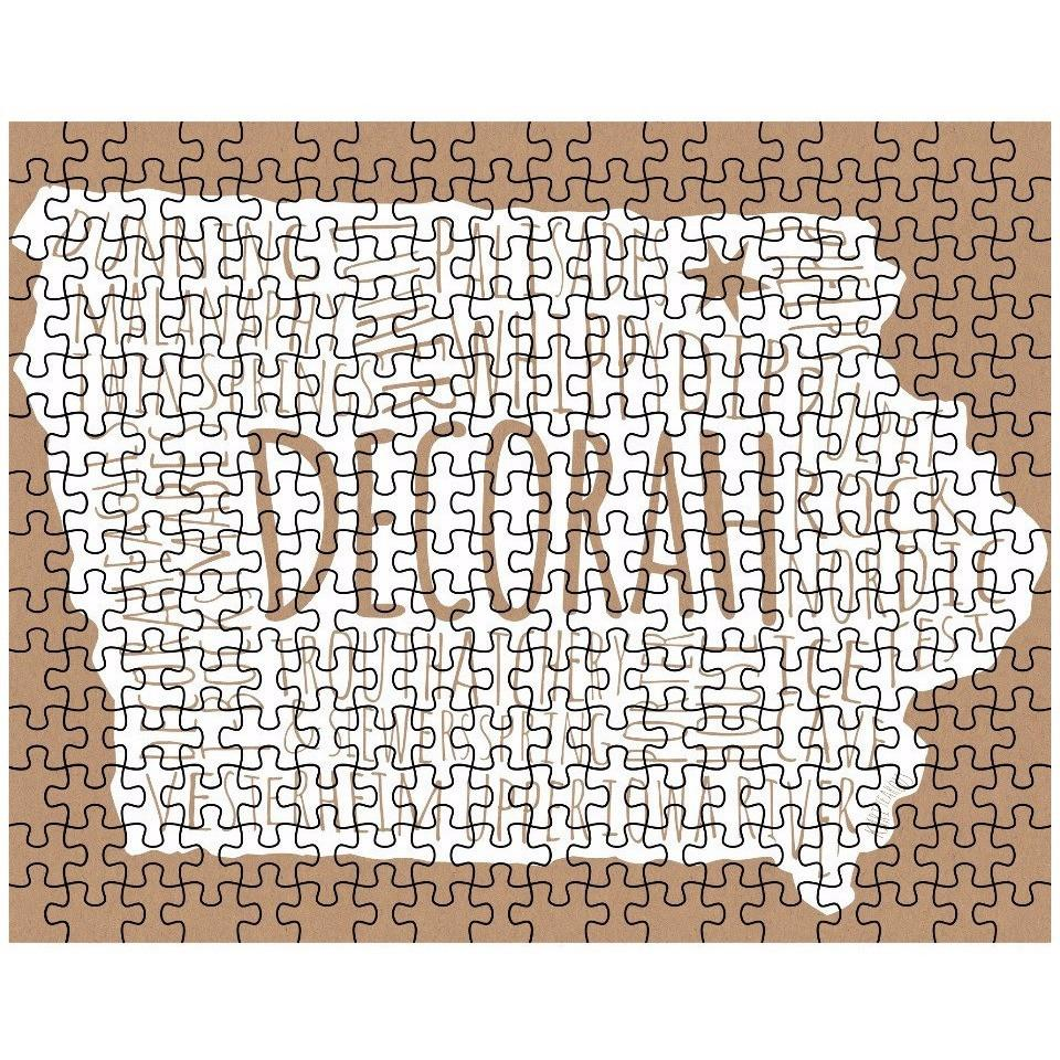 Decorah Iowa Puzzle Typography Map - Kari Yearous Photography WinonaGifts KetoGifts LoveDecorah