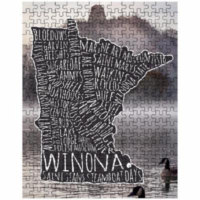 Winona MN Puzzle Typography Map Sugarloaf Geese, Heavy Traffic - Kari Yearous Photography WinonaGifts KetoGifts LoveDecorah