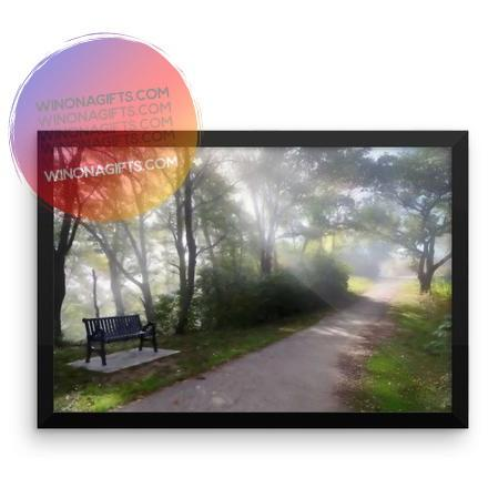 "Framed Winona Minn Poster Foggy Path with Bench, 12"" x 18"" - Kari Yearous Photography WinonaGifts KetoGifts LoveDecorah"