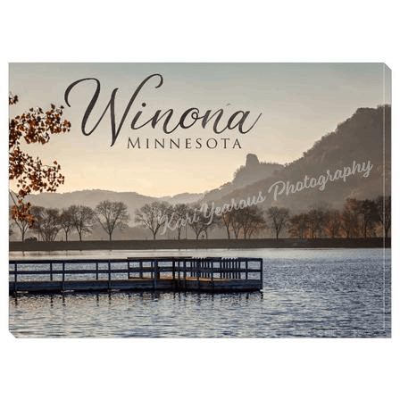 "Canvas Wrap 5"" x 7"" Fall Sugarloaf with Pier + Text - Kari Yearous Photography"