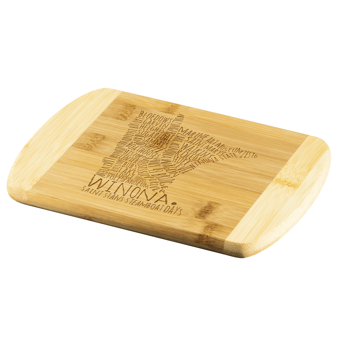 Winona Minnesota Cutting Board, Text Map