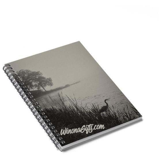 Spiral Notebook Heron On Foggy Morning