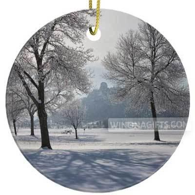 Ornament Porcelain Sugarloaf Between Frosty Trees - Kari Yearous Photography WinonaGifts KetoGifts LoveDecorah