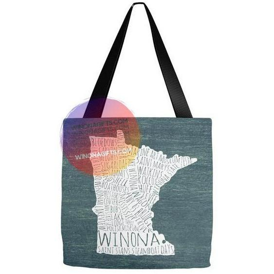 Winona Typography Map Tote Bag, White on Teal - Kari Yearous Photography WinonaGifts KetoGifts LoveDecorah