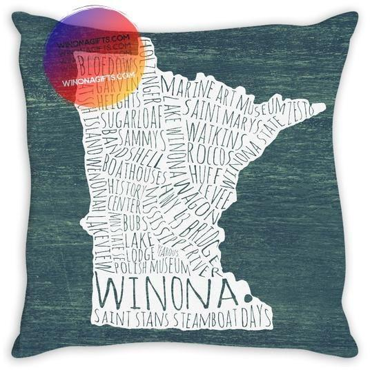 "Winona Typography Map Pillow 14""x14"", Sewn - Kari Yearous Photography WinonaGifts KetoGifts LoveDecorah"