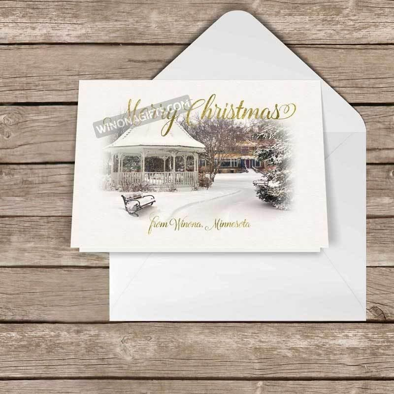 "Card Winona Minnesota Snowy Gazebo, 5"" x 7"", 5 pk - Kari Yearous Photography WinonaGifts KetoGifts LoveDecorah"
