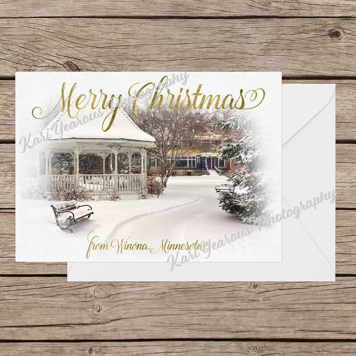 Card (Flat) Merry Christmas From Winona Minnesota, 5 pk - Kari Yearous Photography WinonaGifts KetoGifts LoveDecorah