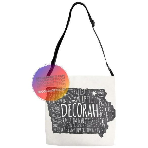 Decorah Iowa Adjustable Strap Tote Bag