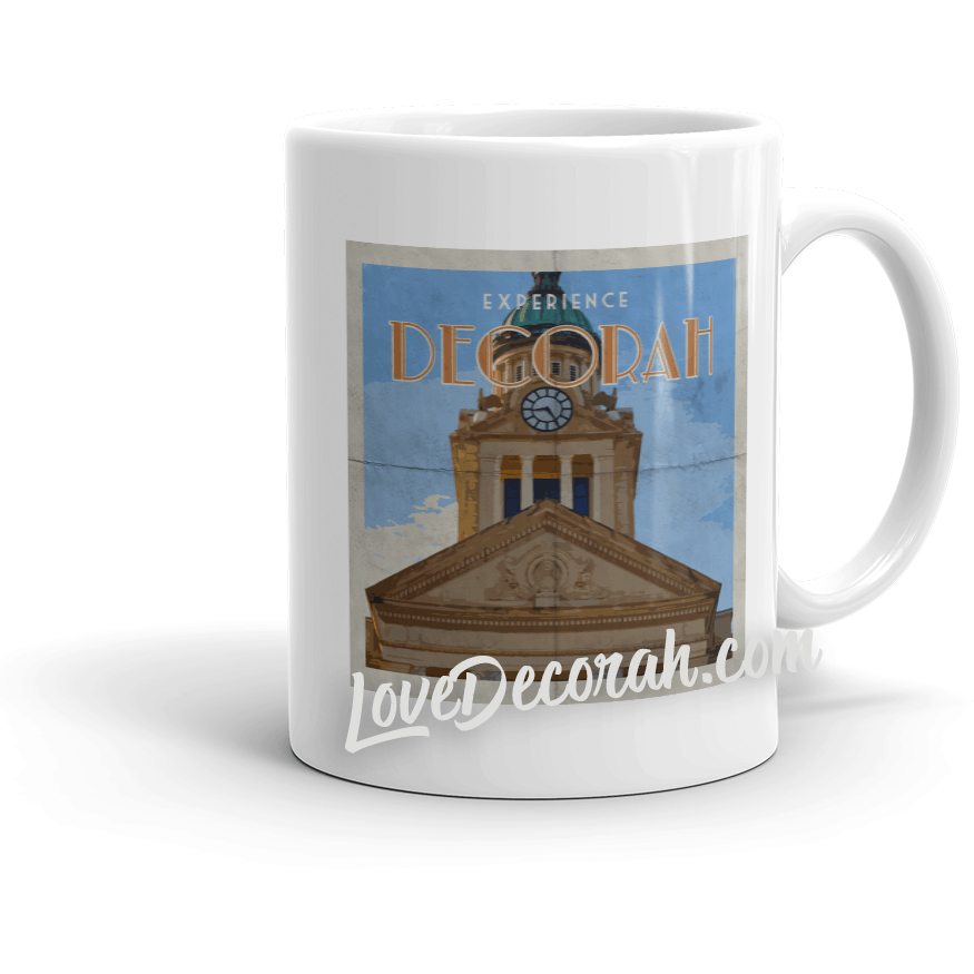 Mug Decorah Iowa Courthouse Vintage Style Travel Poster - Kari Yearous Photography WinonaGifts KetoGifts LoveDecorah