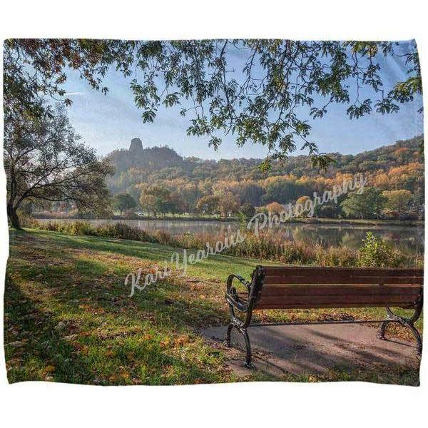 Blanket Fleece Seat With View of Sugarloaf Winona Minnesota
