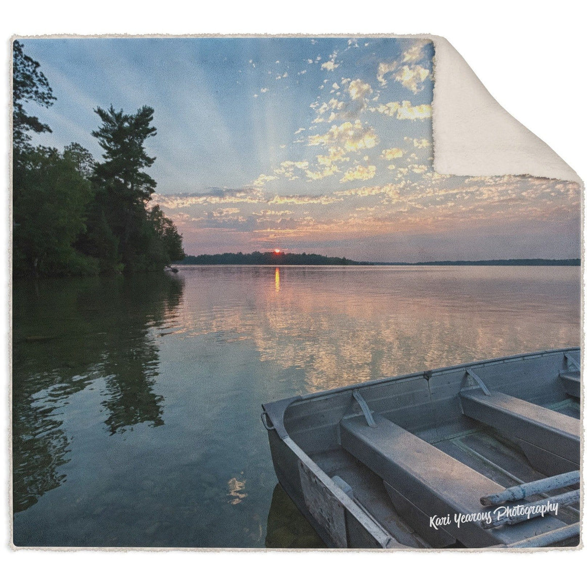 Blanket, Fleece Sherpa, Sunset Beams At Deer Lake - Kari Yearous Photography WinonaGifts KetoGifts LoveDecorah
