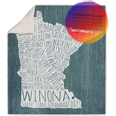 Winona MN Blanket Typography Map, Fleece Sherpa - Kari Yearous Photography WinonaGifts KetoGifts LoveDecorah