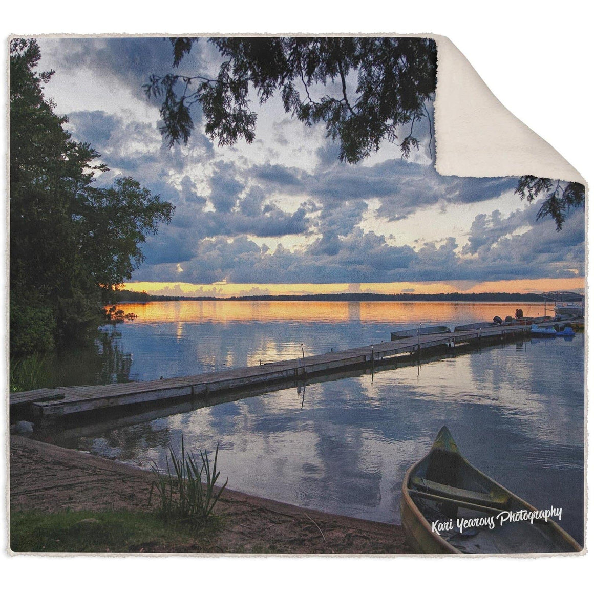Blanket, Sherpa Fleece, Deer Lake Minnesota Sunset with Canoe - Kari Yearous Photography WinonaGifts KetoGifts LoveDecorah