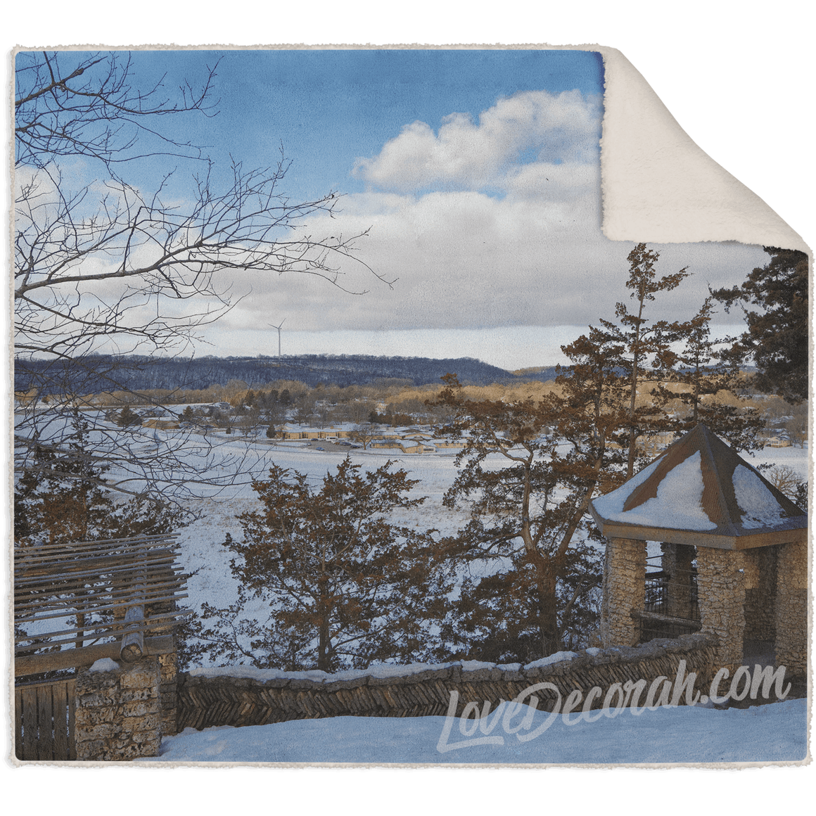 Blanket, Fleece Sherpa, Phelps Overlook Decorah Iowa - Kari Yearous Photography WinonaGifts KetoGifts LoveDecorah