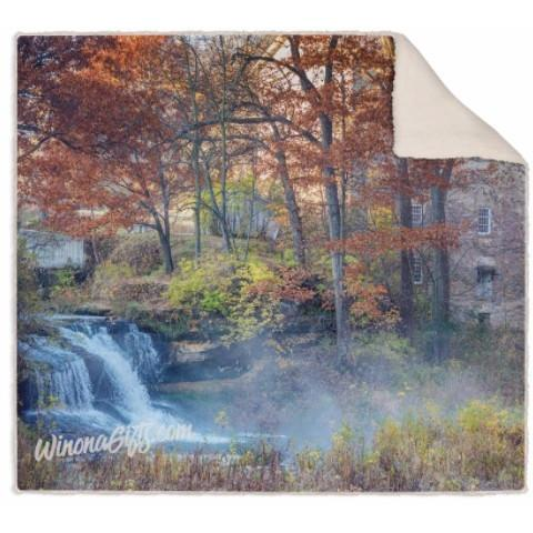 Blanket, Fleece Sherpa, Pickwick Falls and Mill - Kari Yearous Photography WinonaGifts KetoGifts LoveDecorah