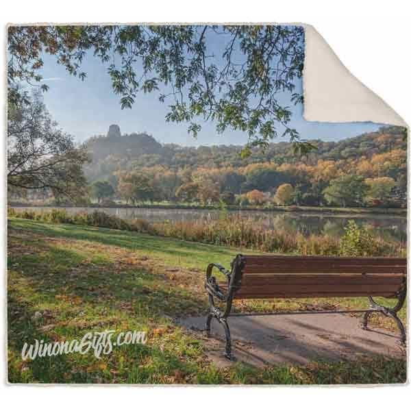 Blanket, Fleece Sherpa, Seat with View of Sugarloaf Winona Minnesota - Kari Yearous Photography WinonaGifts KetoGifts LoveDecorah
